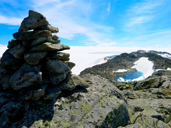 På toppen vid Folgefonna glaciären